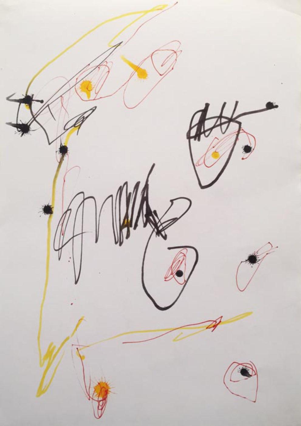 MARC FELD 2003 LITTLE SONG FOR MAURICIO KAGEL 8 Stylo feutre et stylo bille sur papier 21x29, 7 cm