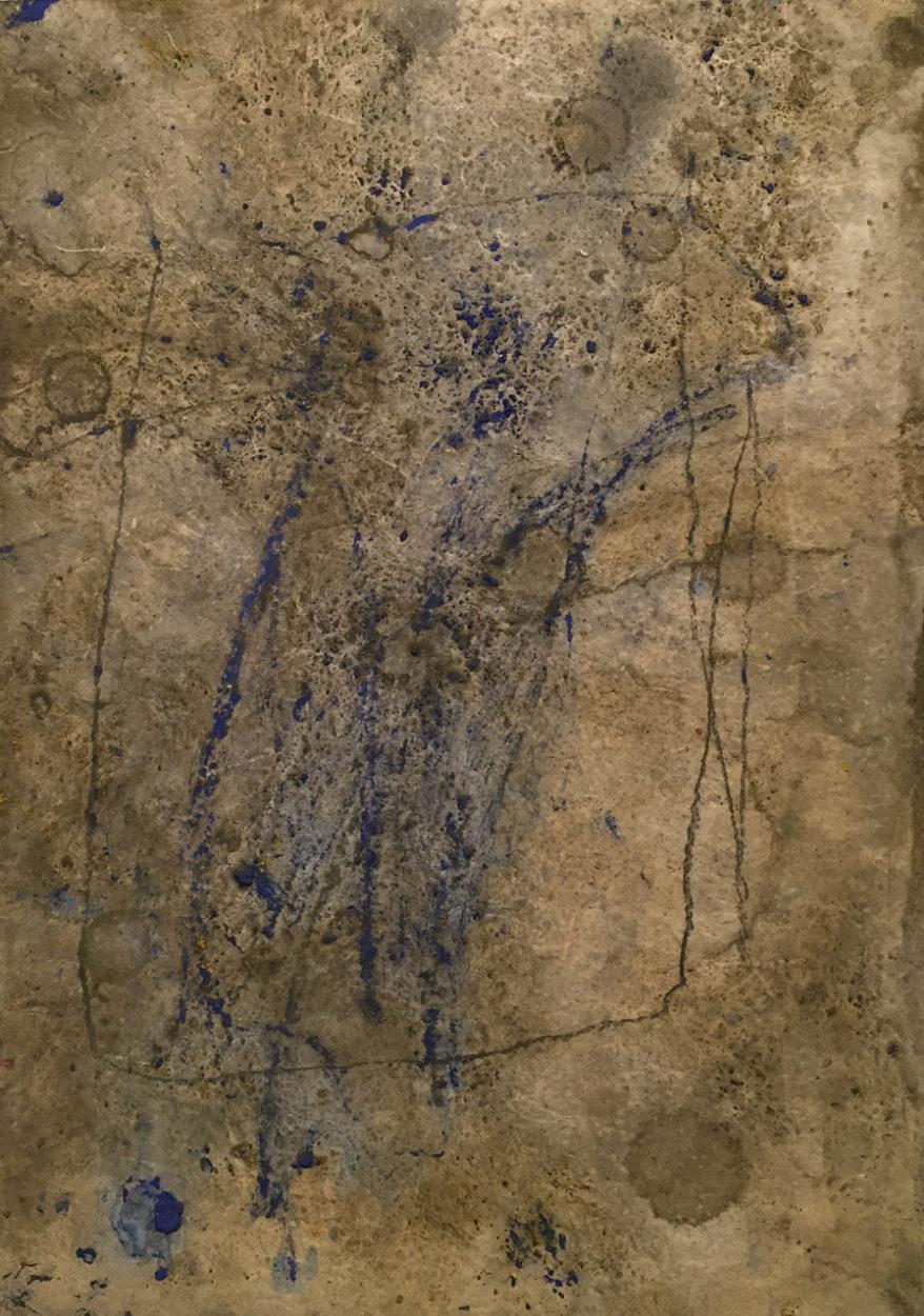 MARC FELD 2008 SOCLE 1 Huile et pigment sur papier 21x29,7 cm
