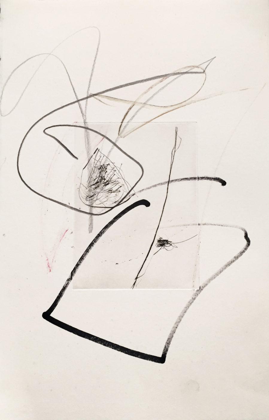 MARC FELD 2010-2016 LIGNES DE FUITE 3 Gravure sur zinc rehaussée au stylo feutre et à la mine de plomb 28 x 38 cm tirage Patrick Vernet