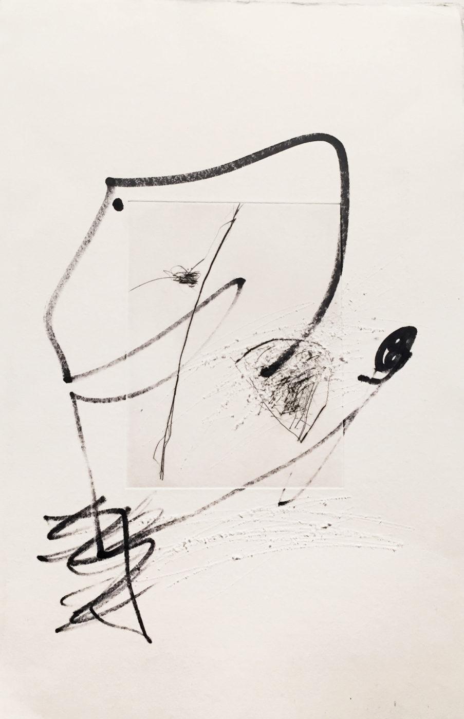 MARC FELD 2010-2016 LIGNES DE FUITE 7 Gravure sur zinc rehaussée au stylo feutre 28 x 38 cm tirage Patrick Vernet