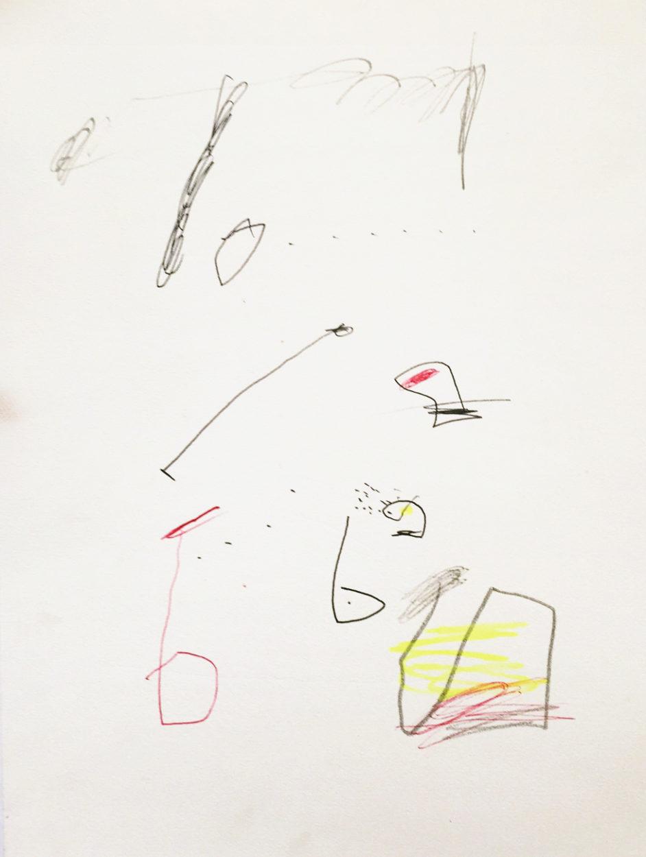 MARC FELD 2010 RYTHMES 5 Stylo bille, crayon de couleur et mine de plomb sur papier 24x32 cm