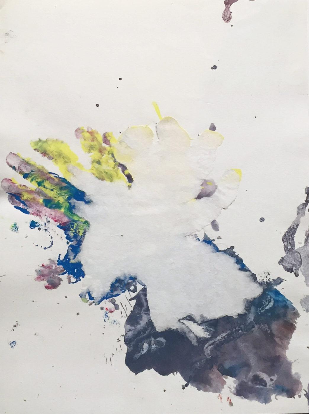 MARC FELD 2011 FICTION 4 Gouache sur papier déchiré 24x32 cm