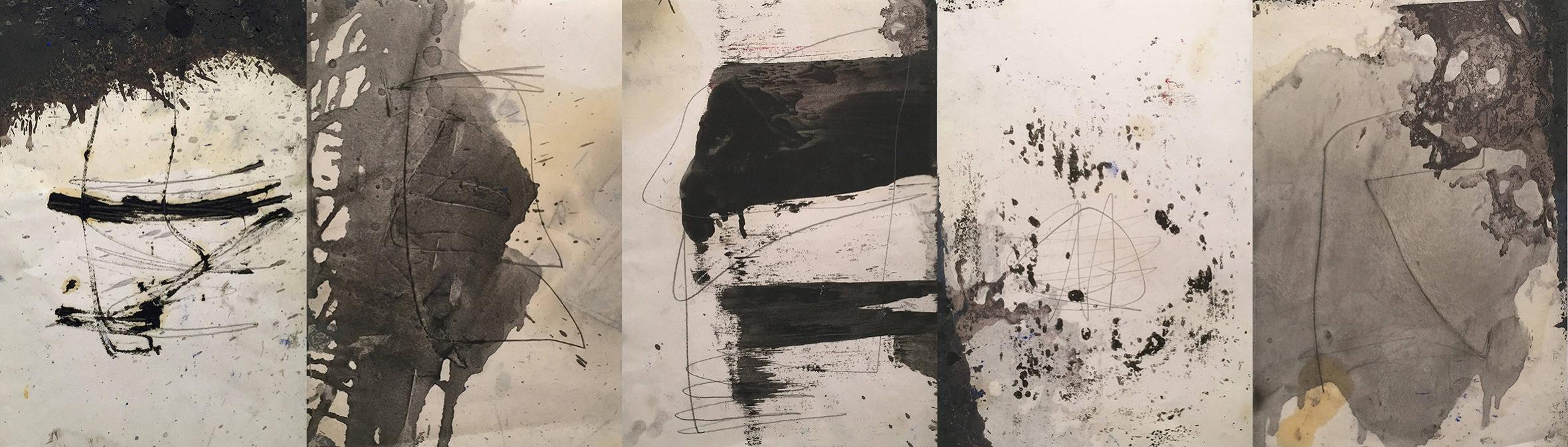 MARC FELD 2012 FALAISES Huile et mine de plomb sur papier 105 x 30 cm