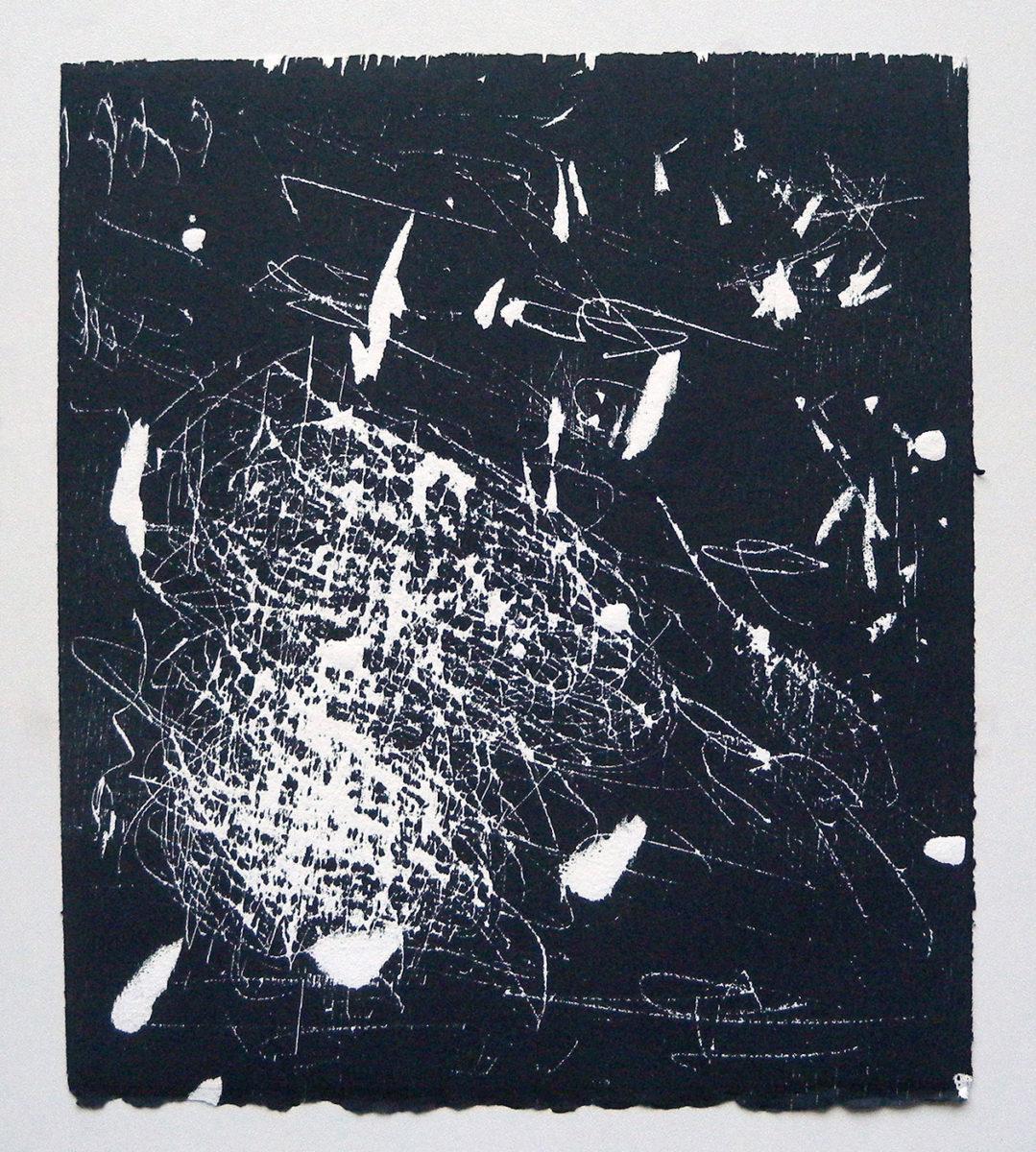 MARC FELD 2012 SONG FOR STEVE LACY 14 Gravure sur bois encre sur papier 25 x 26 cm (Tirage Patrick Vernet)