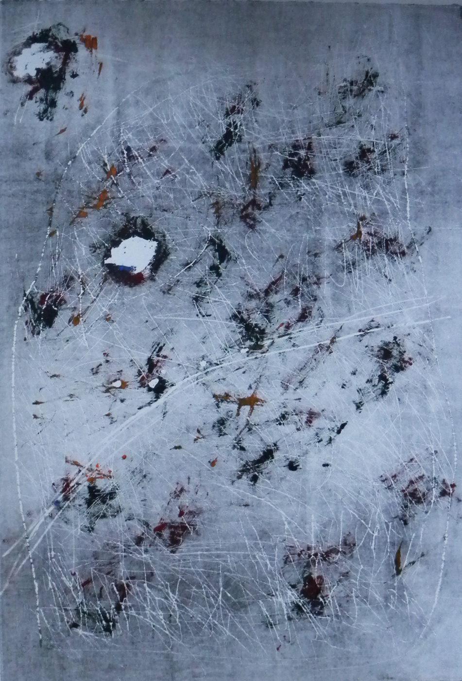 MARC FELD 2012 SONG FOR STEVE LACY 18 Gravure sur bois encre sur papier 63 x 90 cm (Tirage Patrick Vernet)