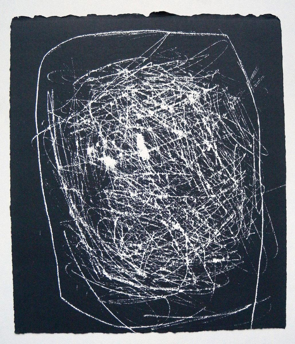 MARC FELD 2012 SONG FOR STEVE LACY 5 Gravure sur bois encre sur papier 25 x 26 cm (Tirage Patrick Vernet)