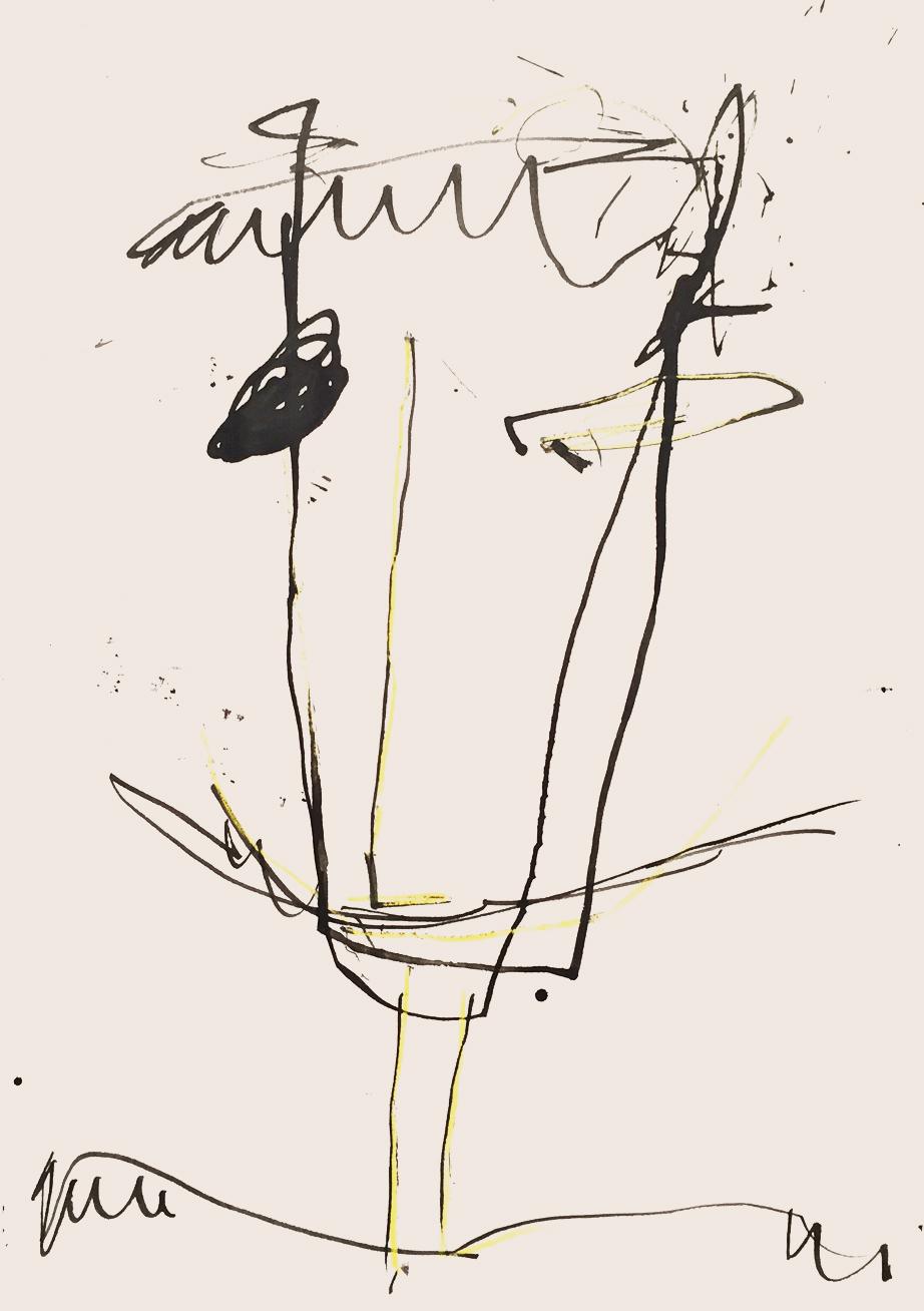 MARC FELD 2013 VISAGE 1 Encre et crayon de couleur sur papier 21x29,7 cm
