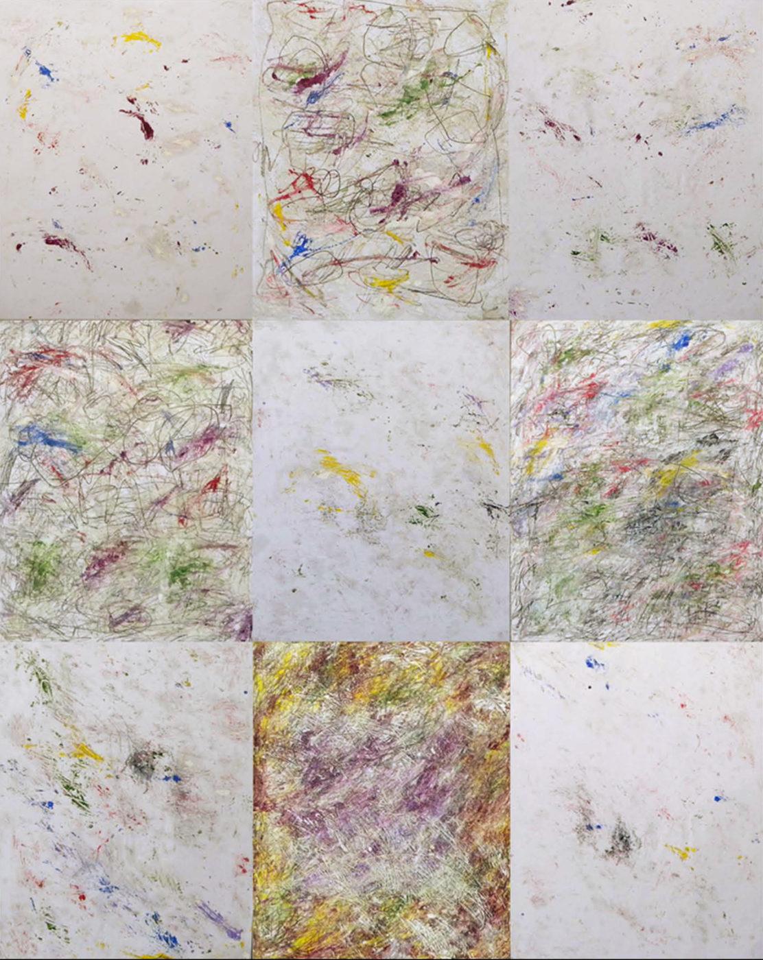 MARC FELD 2014 ALGORITHME 1  Huile acrylique et mine de plomb sur papier marouflé sur toile 150 x 195 cm