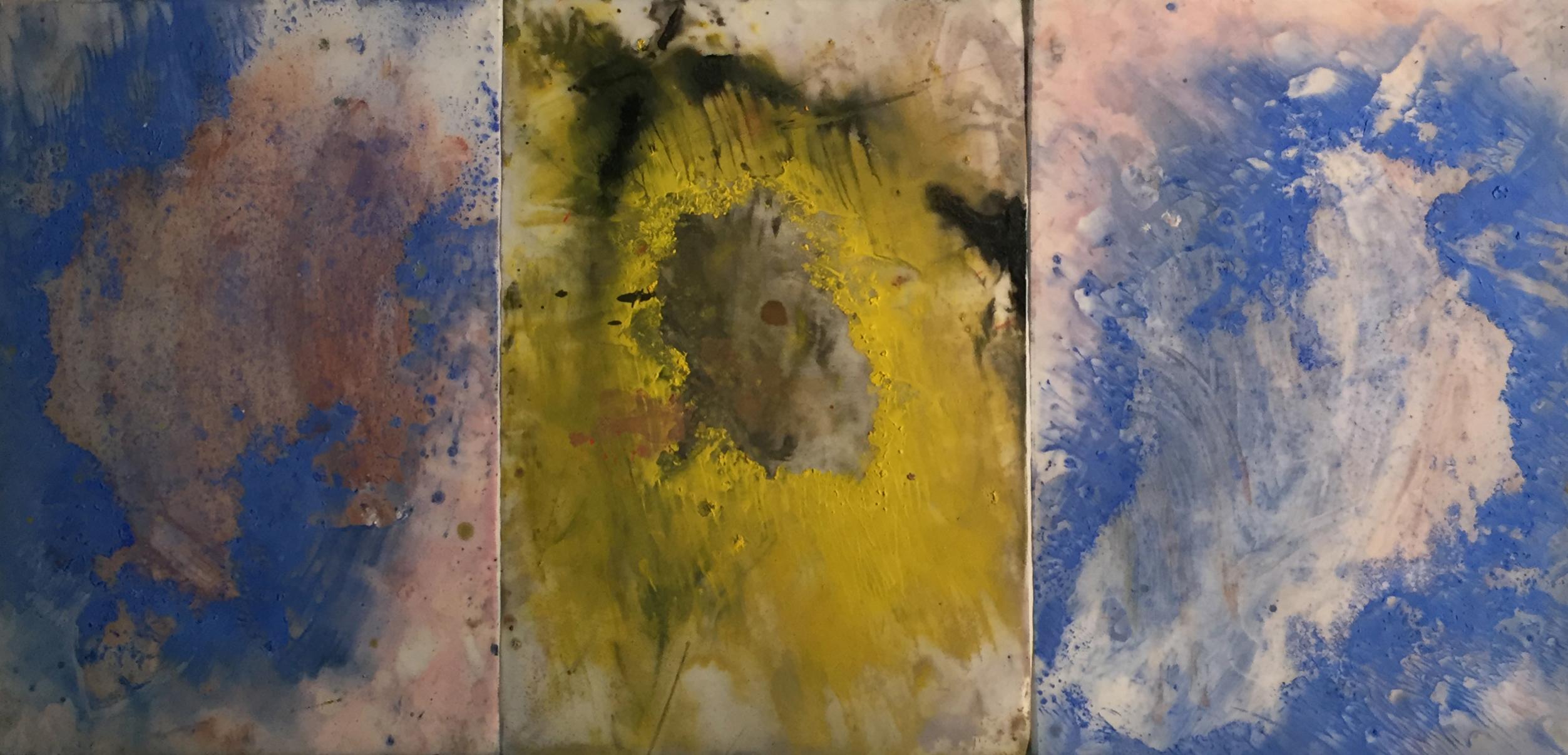 MARC FELD 2014 CYCLONE Huile et pigment sur papier 72 x 42 cm