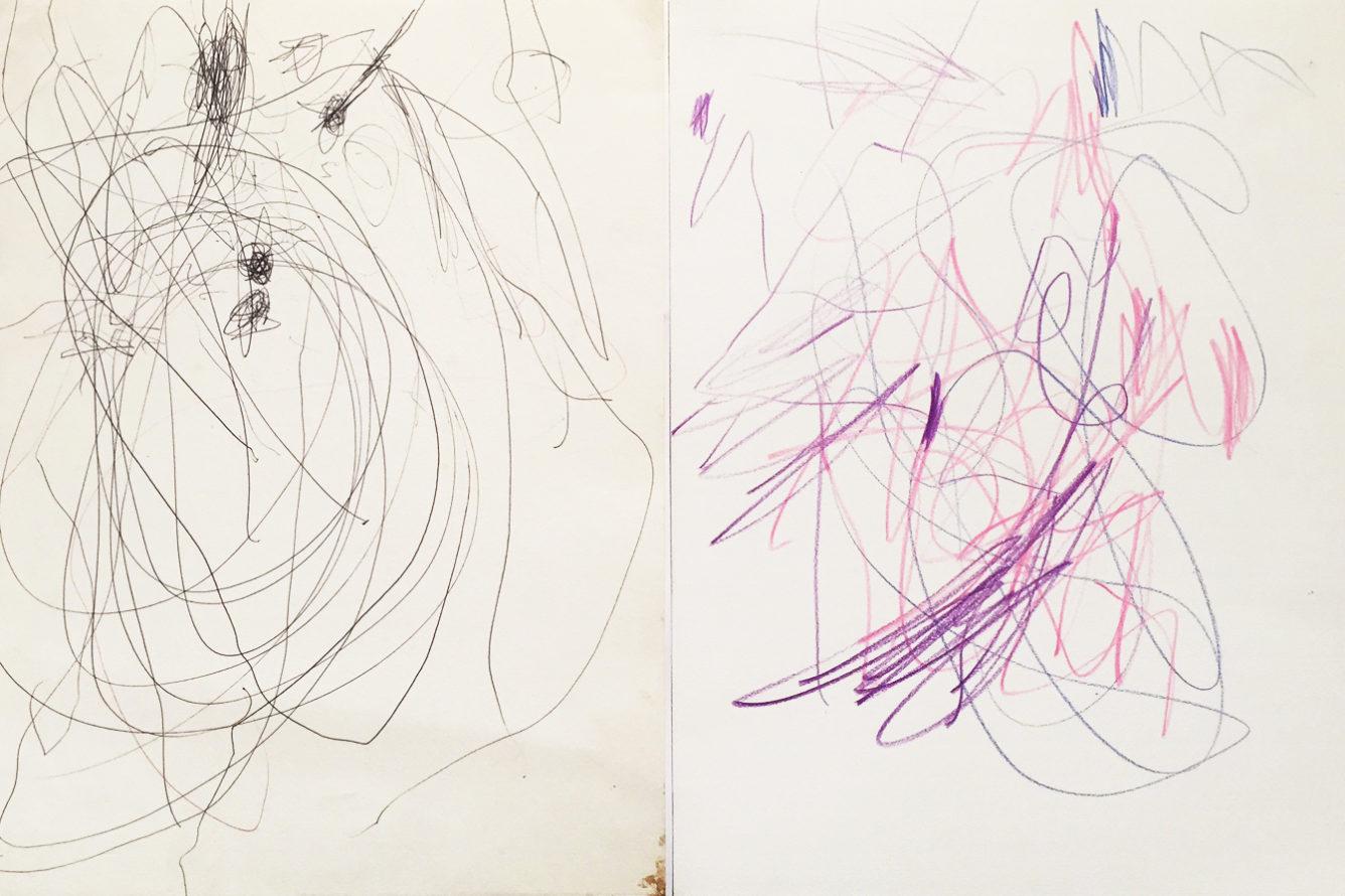 MARC FELD 2014 HOP LÀ! Stylo bille et crayons de couleur sur papier 48 x 32 cm