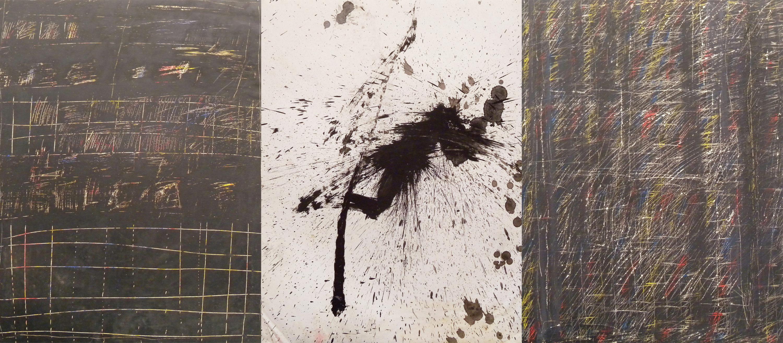 MARC FELD 1996-2015 BODY AND SOUL  Huile et encre sur papier 150 x 65 cm