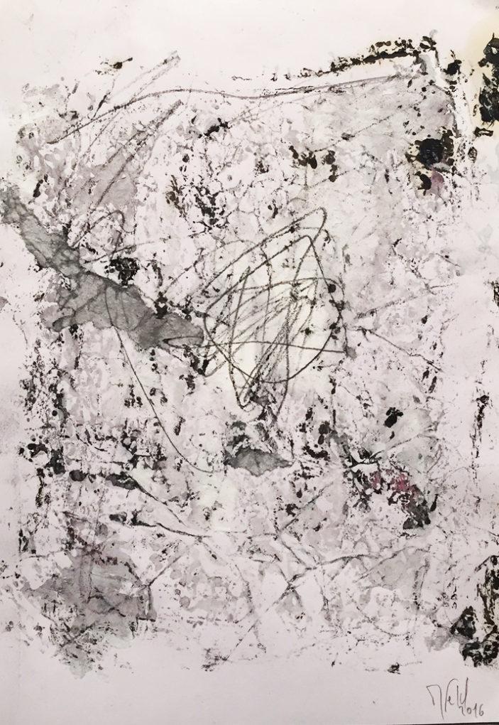 MARC FELD 2016 ALGÈBRE Huile, acrylique, mine de plomb sur papier 21 x29,7 cm