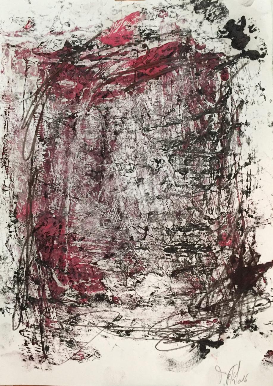 MARC FELD 2016 ARÈNE 2 Huile, mine de plomb et acrylique sur papier 29,7 x 21 cm