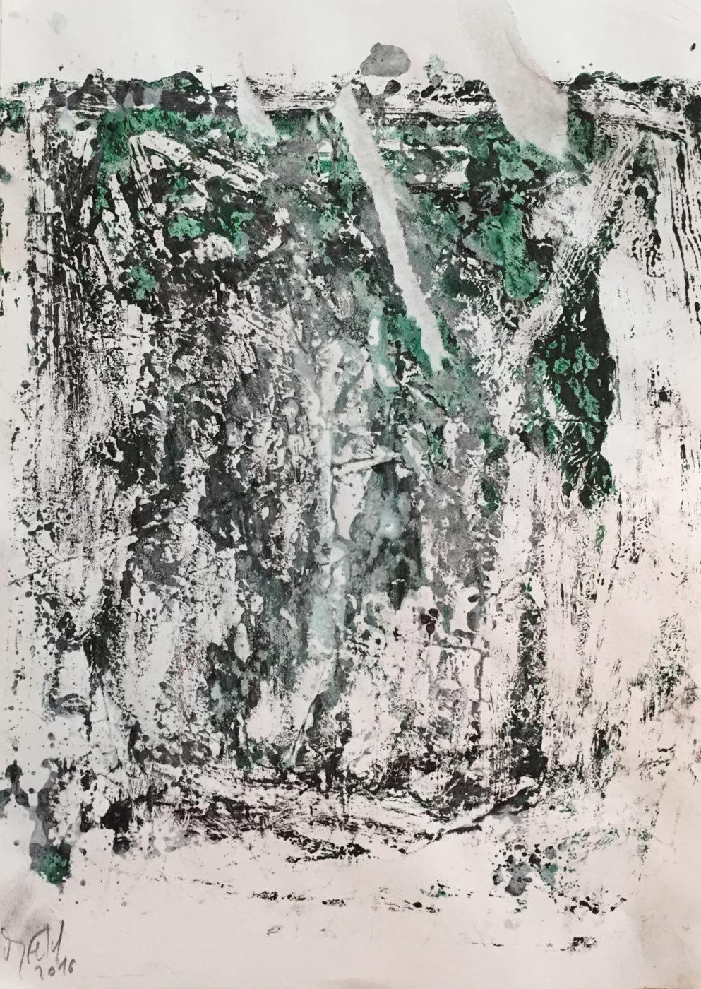 MARC FELD 2016 FRAGMENTATION 3 Huile et acrylique sur papier 29,7 x 21 cm