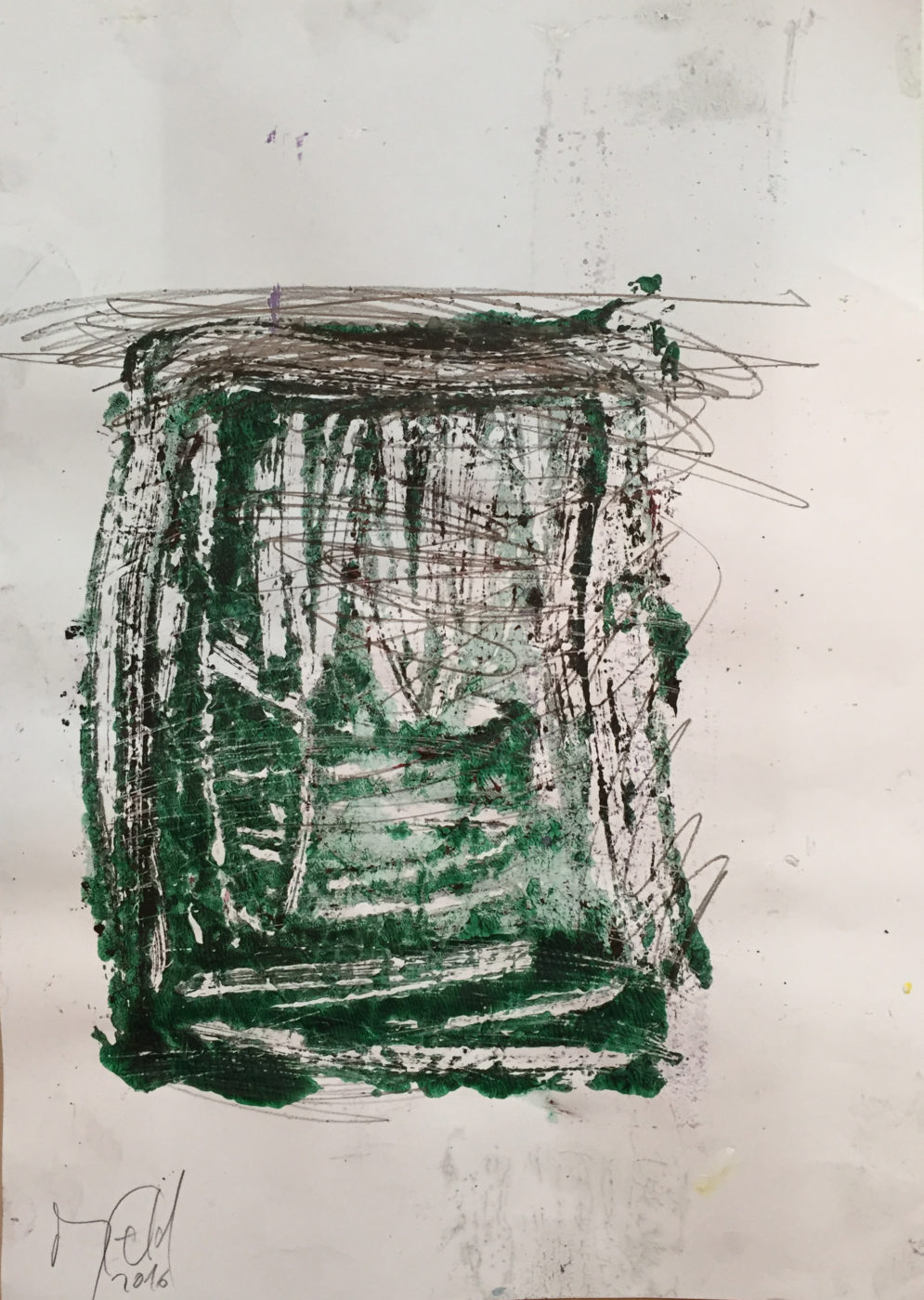 MARC FELD 2016 LÉVITATION Huile, mine de plomb et acrylique sur papier 29,7 x 21 cm
