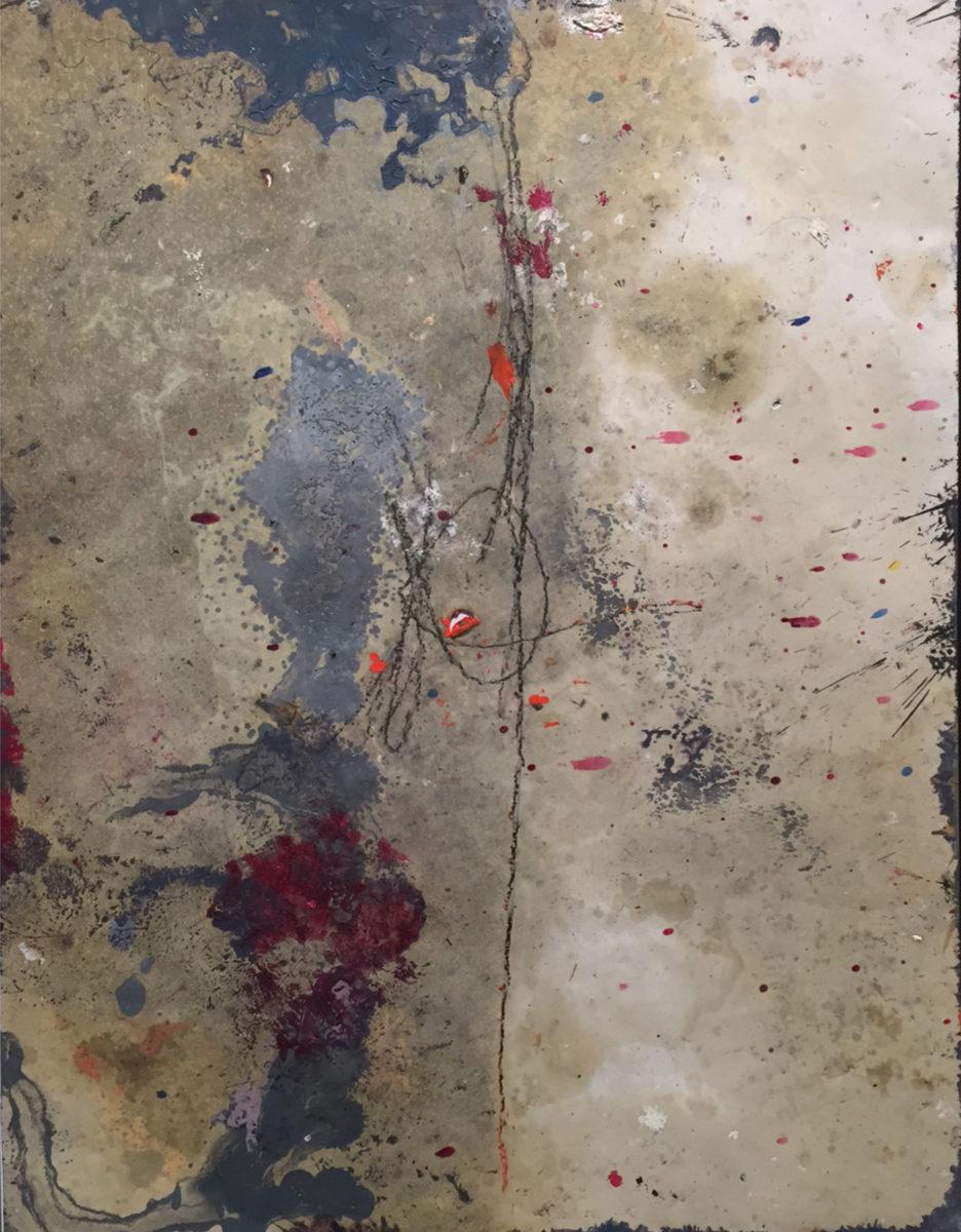 MARC FELD 2016 NŒUD  Huile et mine de plomb sur papier 50 X 65 cm
