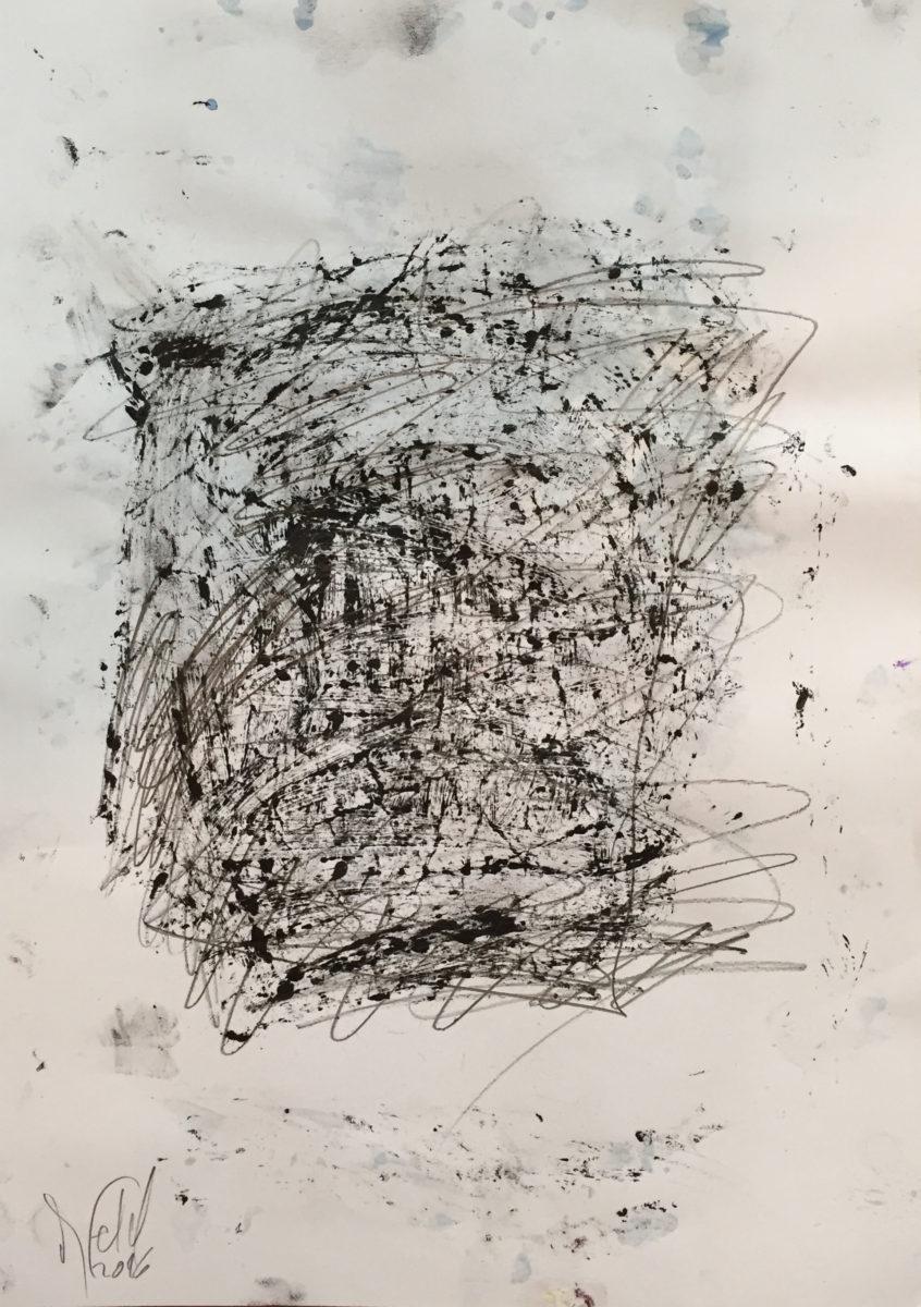 MARC FELD 2016 SECOUSSE Huile, mine de plomb et acrylique sur papier 29,7 x 21 cm