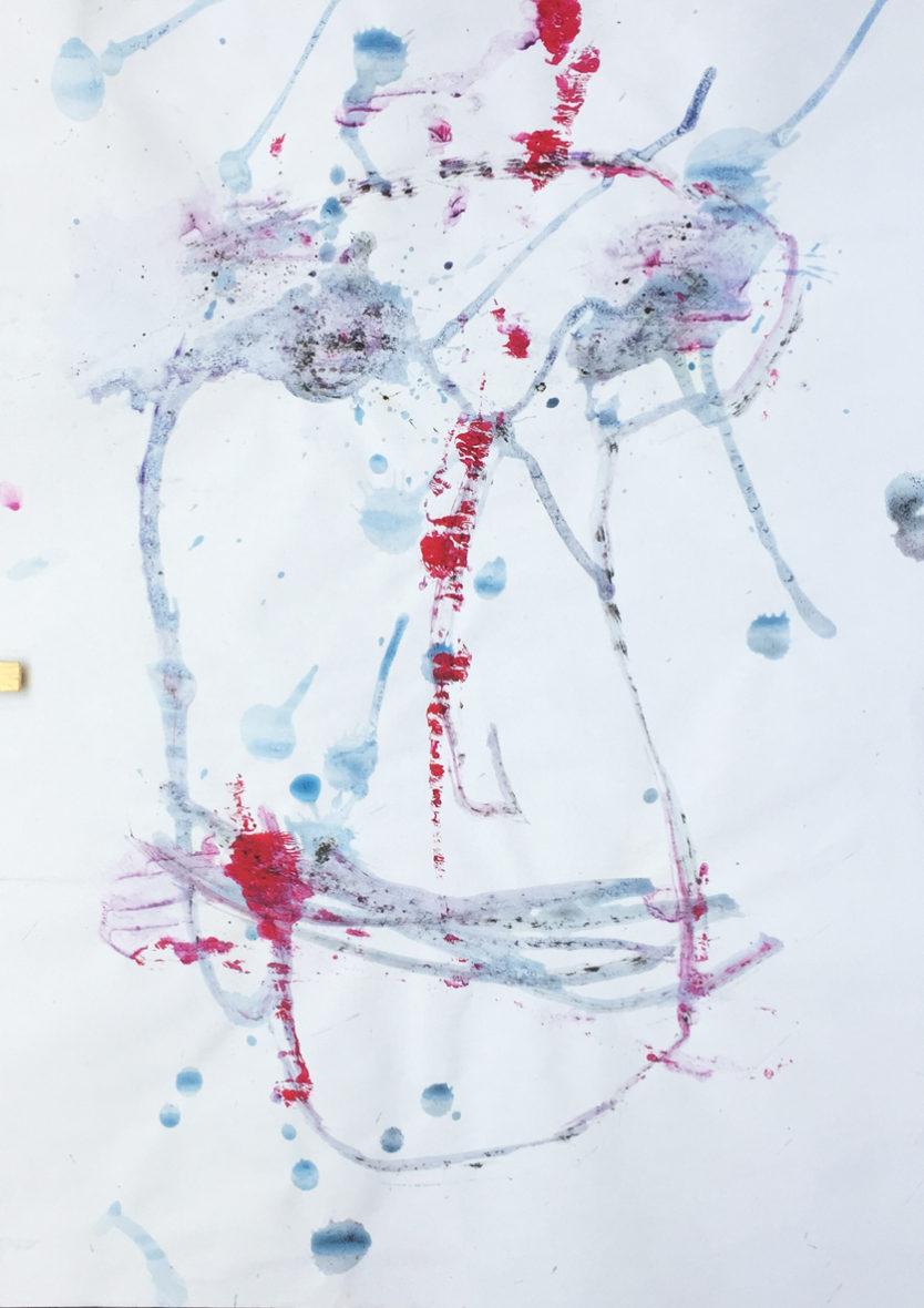 MARC FELD 2016 VISAGE 17 Gouache sur papier 29,5x42 cm