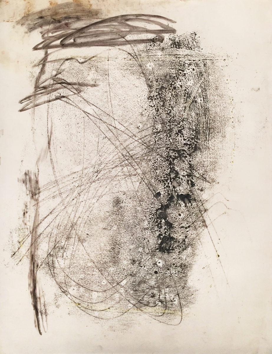 MARC FELD 2017 APPARITION Fusain et huile sur papier 50 x 65 cm