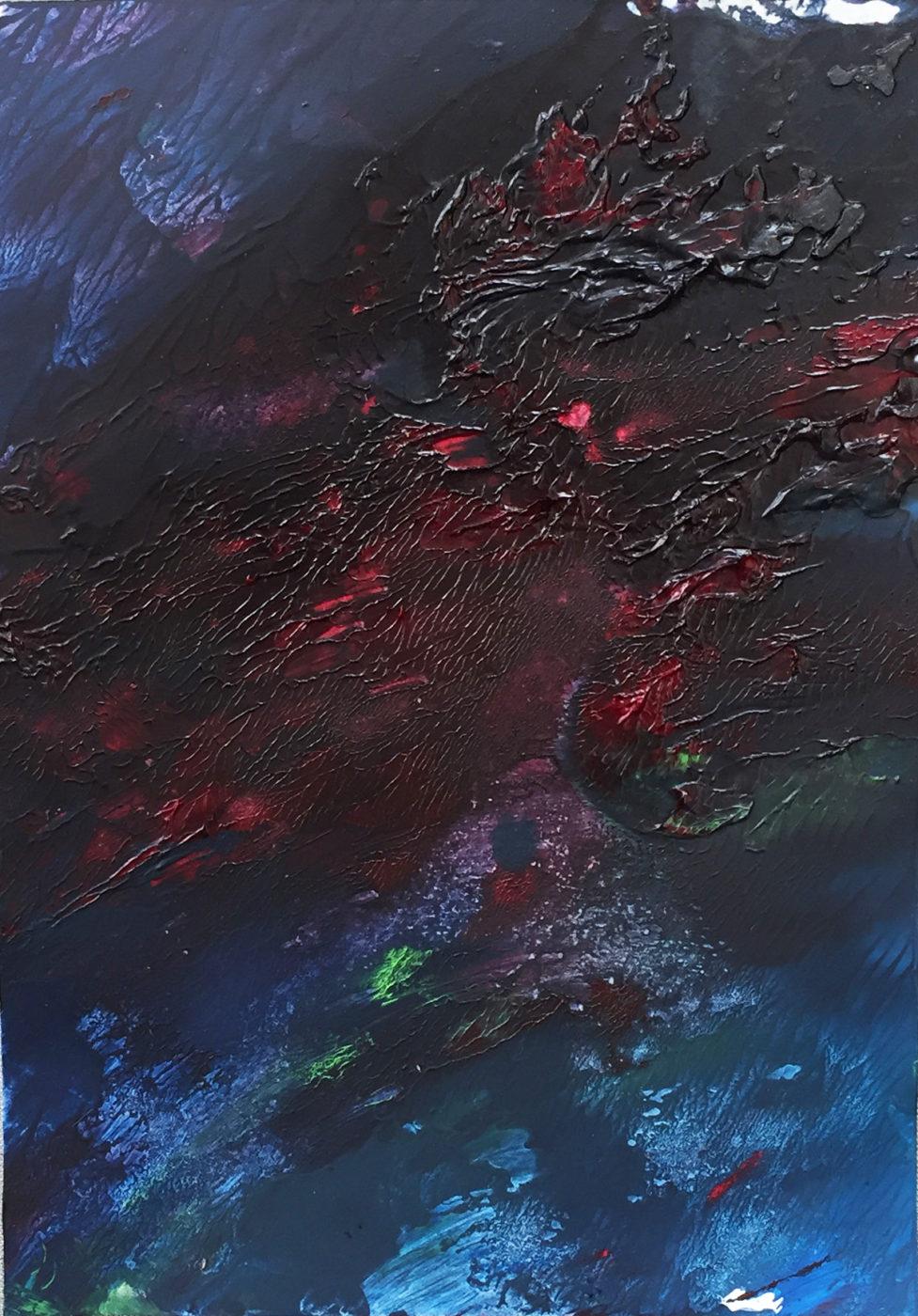 MARC FELD 2017 FEU Huile sur papier 24X32 cm