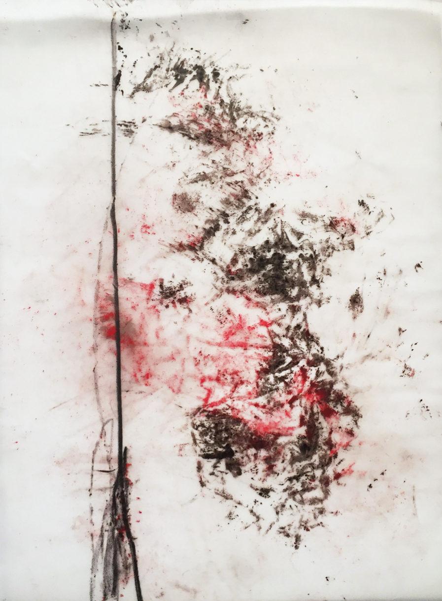 MARC FELD 2017 FLÊCHE Huile, pigment et mine de plomb sur papier calque 21x29,7 cm