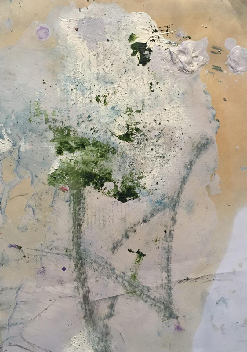 MARC FELD 2017 NEIGE ET FEU 1 (pour Kenneth White) Huile et gouache sur papier 21x29,7 cm