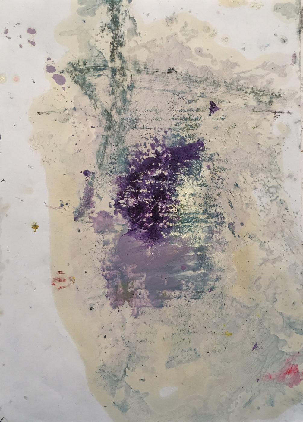 MARC FELD 2017 NEIGE ET FEU 2 (pour Kenneth White) Huile et gouache sur papier 21x29,7 cm