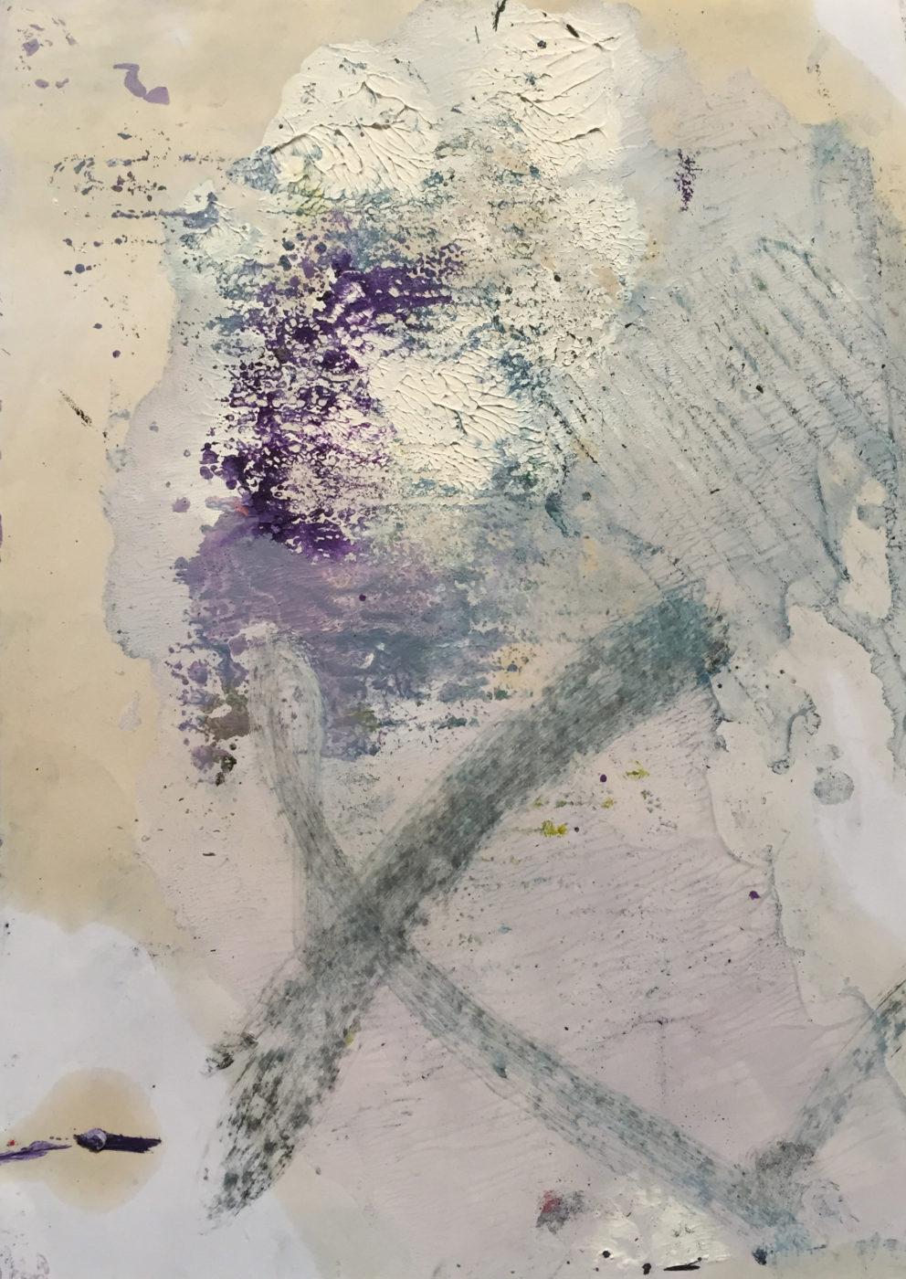 MARC FELD 2017 NEIGE ET FEU 3 (pour Kenneth White) Huile et gouache sur papier 21x29,7 cm