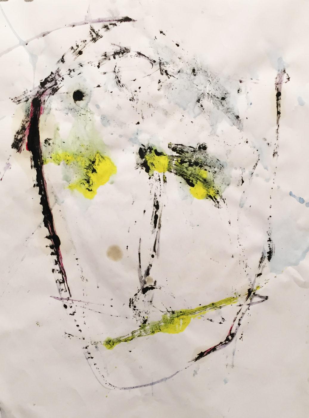 MARC FELD 2017 VISAGE 3 Acrylique et huile sur papier 50x65 cm