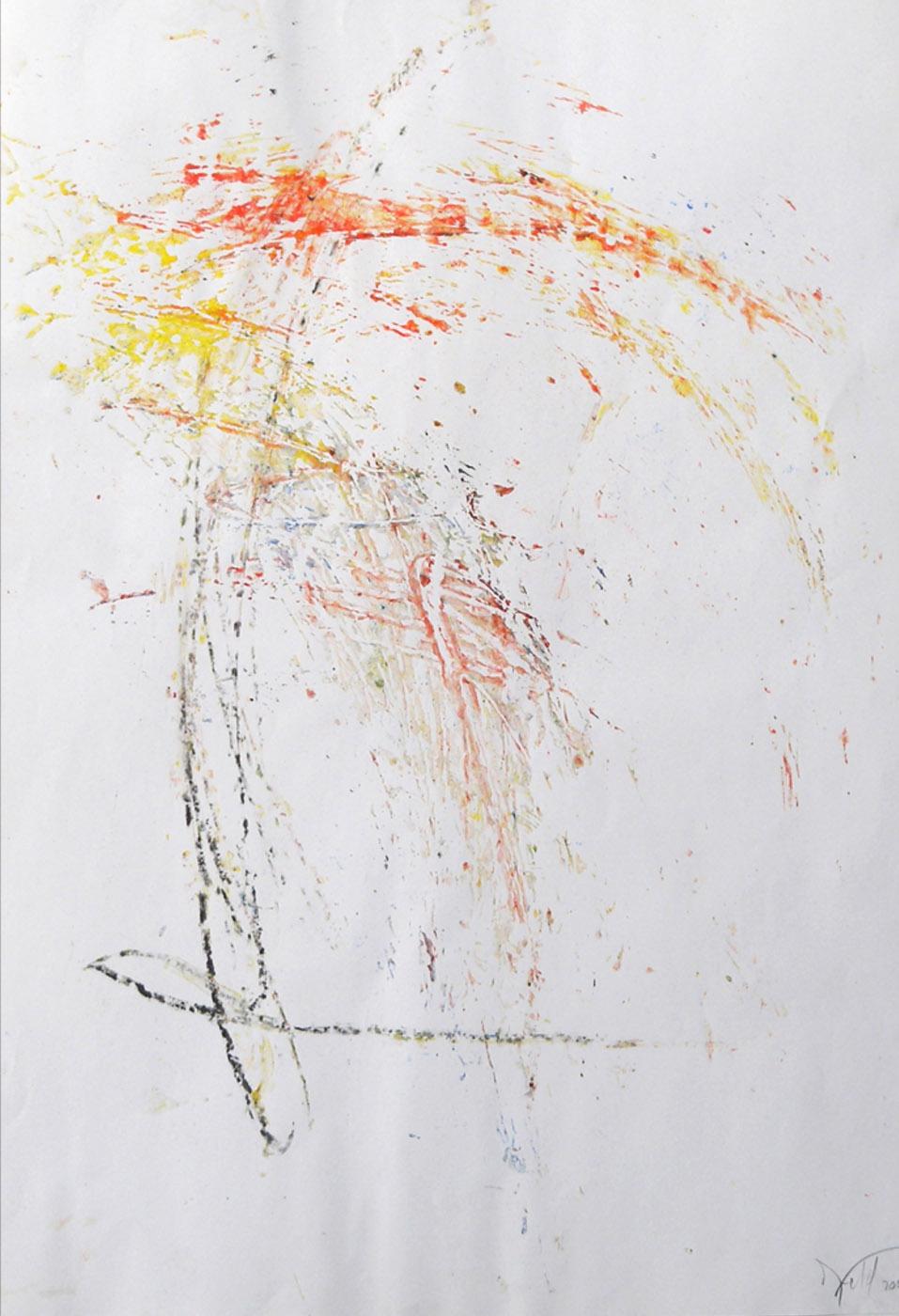 MARC FELD 2003 MOT Huile colle et mine de plomb sur papier 44 x 65 cm