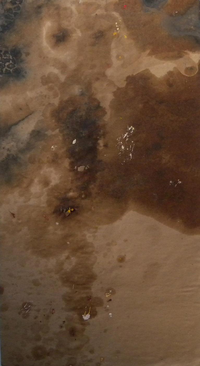 MARC FELD 2011 SENSATION 2 Huile et moisissures sur papier 65x120 cm