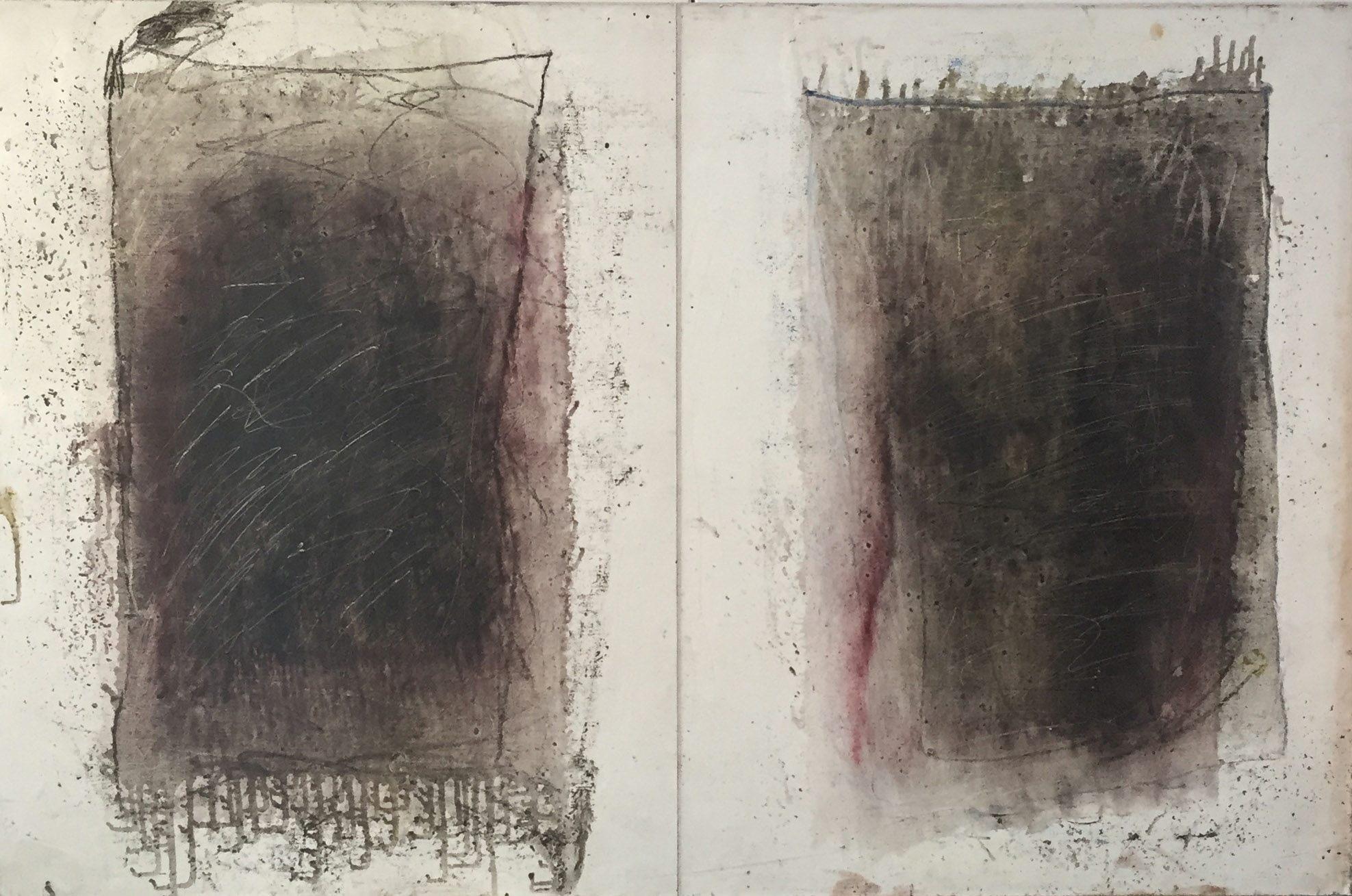 MARC FELD 1994 PIERRAILLE (pour Yves Bonnefoy) Huile et mine de plomb sur papier marouflé sur toile 65 x 100 cm