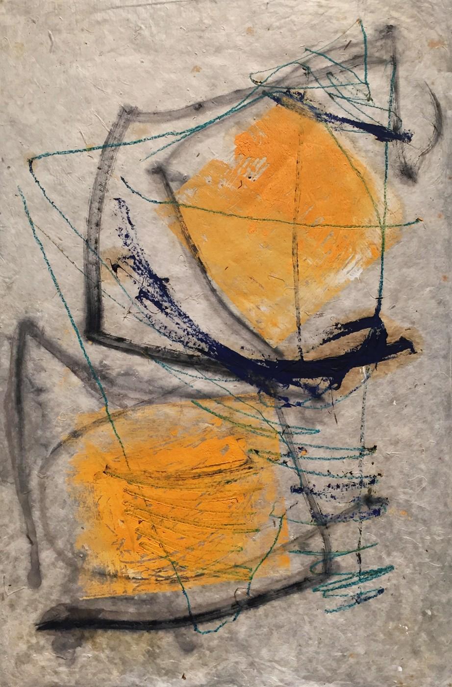 MARC FELD 2000 RIGODON 2 Huile et crayon de couleur sur papier 50 x 76 cm