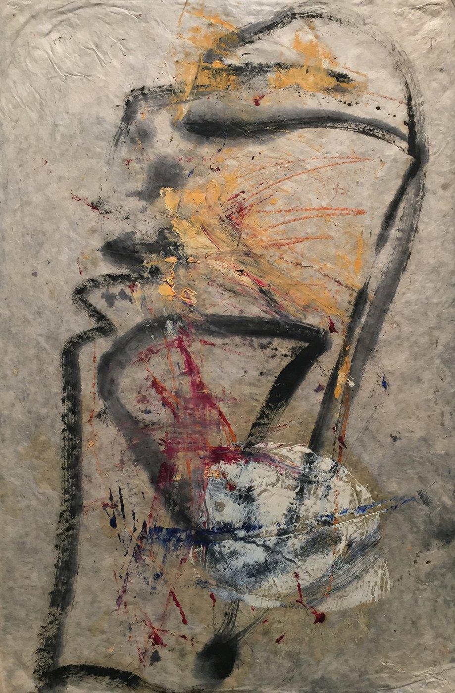 MARC FELD 2000 RIGODON 3 Huile et crayon de couleur sur papier 50 x 76 cm
