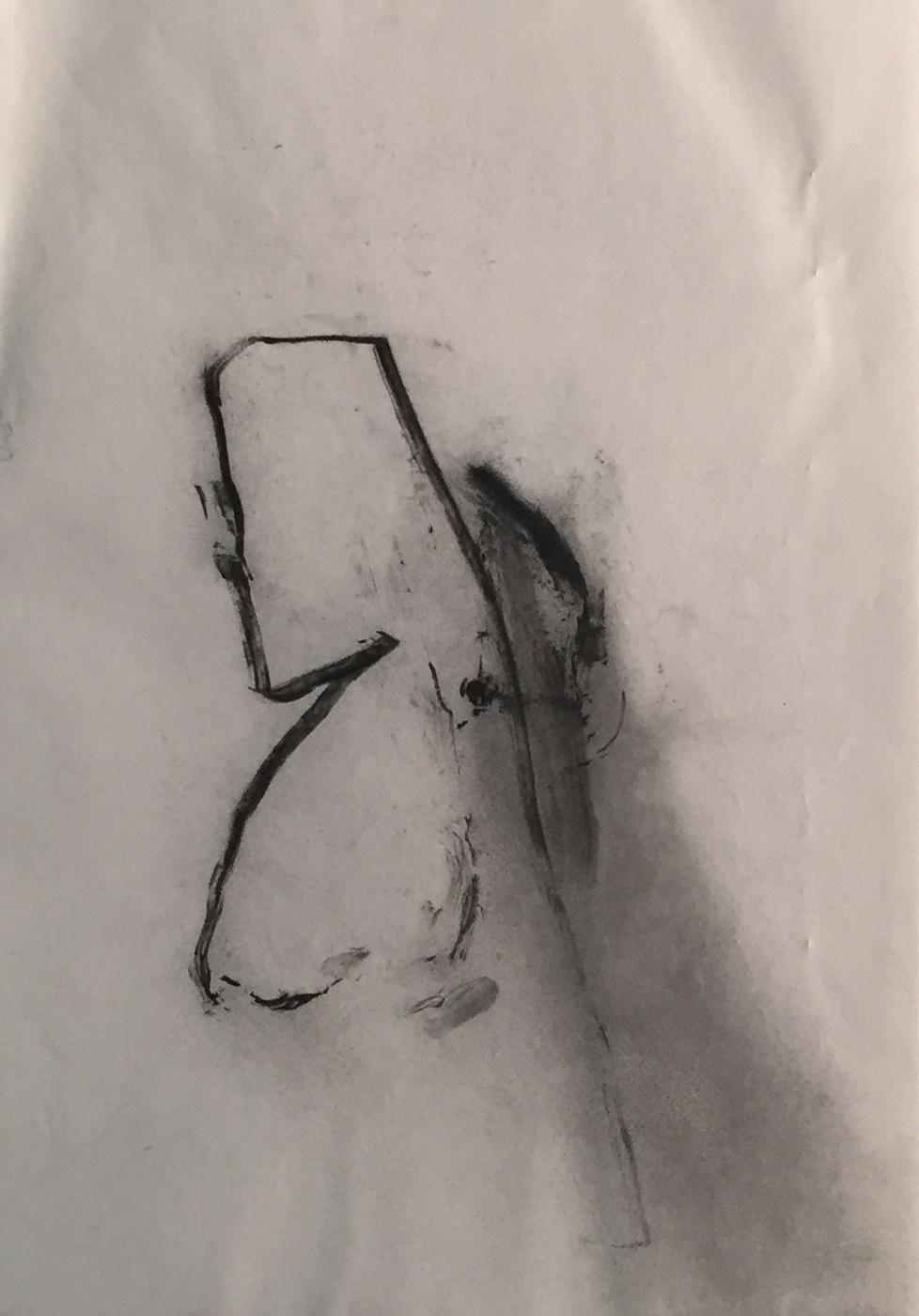 MARC FELD 2003 RESSAC Fusain sur papier 21 x 29.7 cm