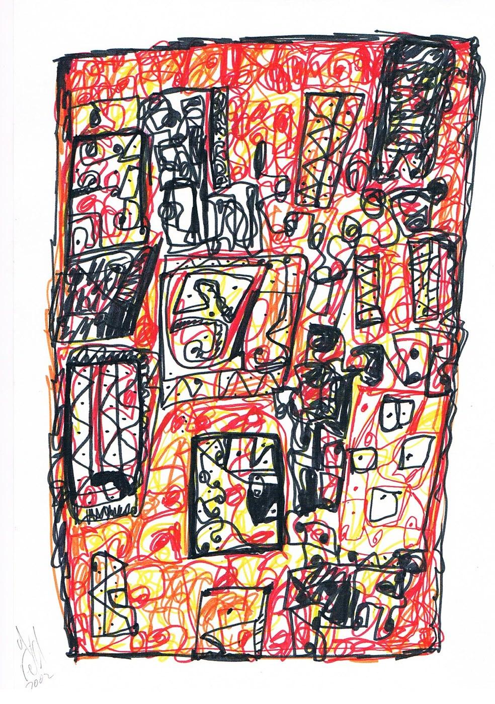 MARC FELD 2002 VOLIÈRE 1 Stylo feutre sur papier 21 x 29,7 cm