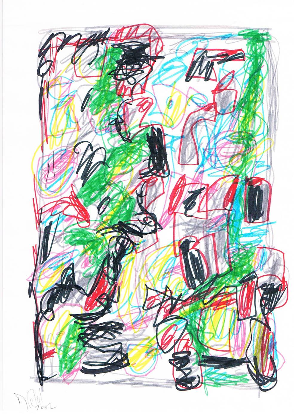 MARC FELD 2002 VOLIÈRE 2 Stylo feutre sur papier 21 x 29,7 cm