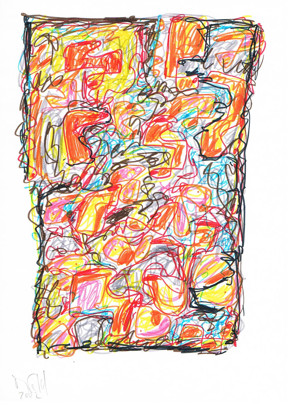 MARC FELD 2002 VOLIÈRE 3 Stylo feutre sur papier 21 x 29,7 cm