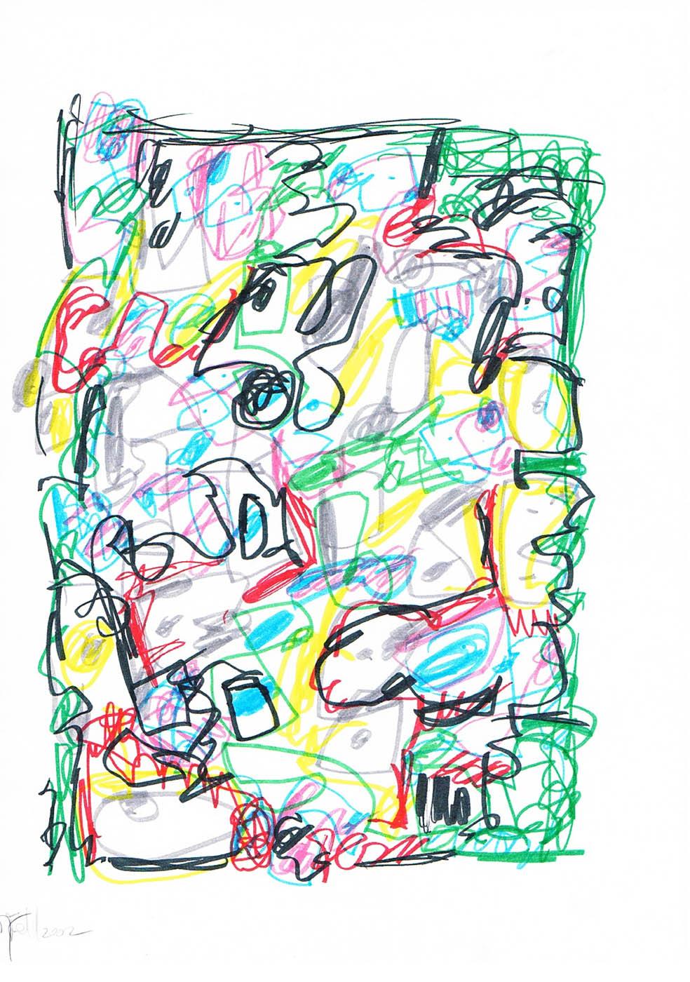 MARC FELD 2002 VOLIÈRE 4 Stylo feutre sur papier 21 x 29,7 cm