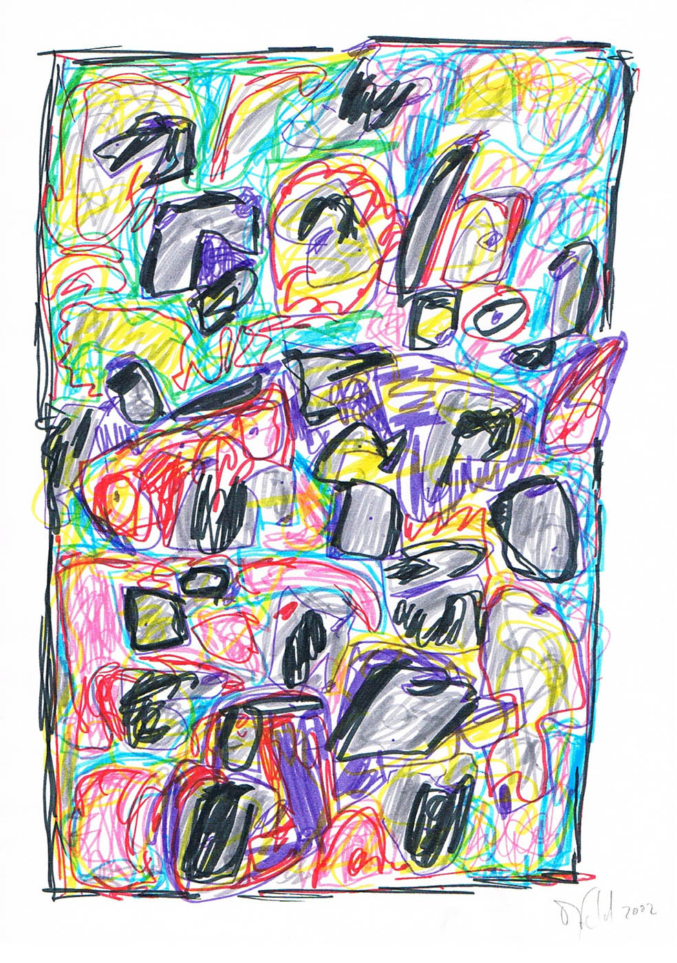 MARC FELD 2002 VOLIÈRE 5 Stylo feutre sur papier 21 x 29,7 cm