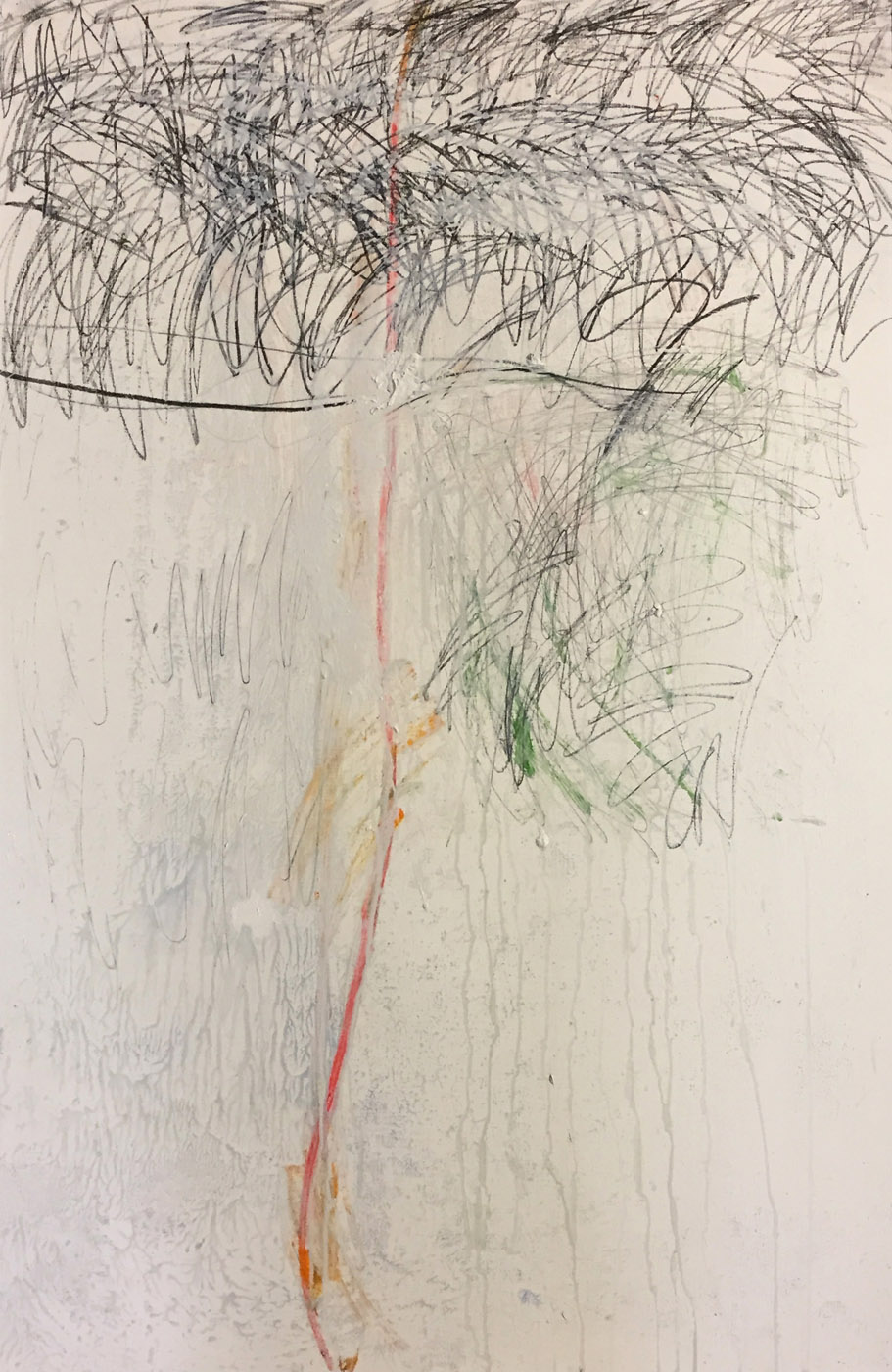 MARC FELD 2018 UN ARBRE' Huile acrylique et mine de plomb sur papier 100 x 65 cm