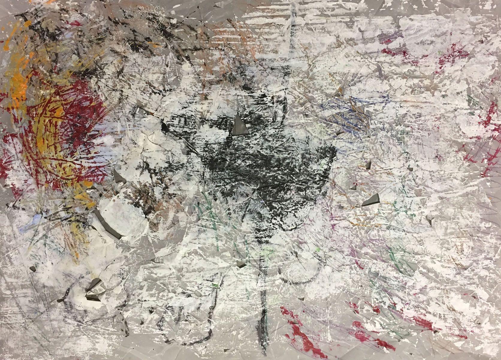 MARC FELD 2018 ENFANCE Huile et pigment sur papier calque 87 x 62 cm