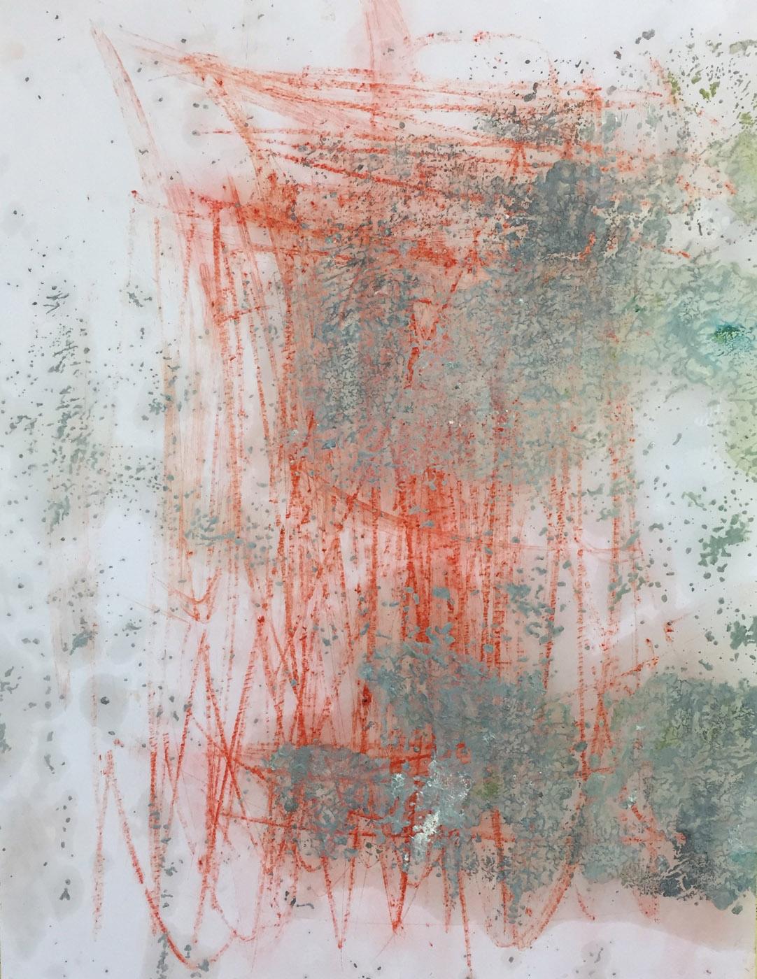 MARC FELD 2019 RED WRITING 3 Pigment et huile sur papier 50 x 65 cm