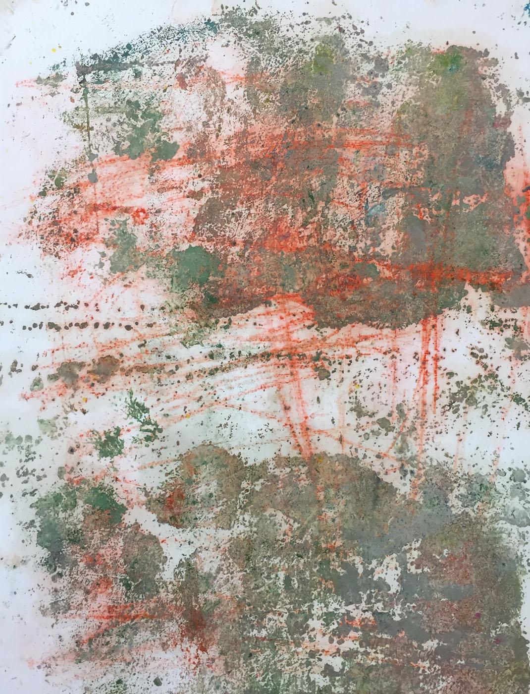 MARC FELD 2019 RED WRITING 6 Pigment et huile sur papier 50 x 65 cm