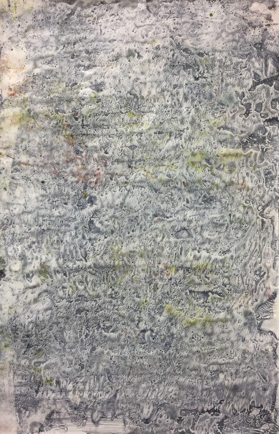 MARC FELD 2019 ÉCRITURES Gouache, acrylique et pigment sur papier 50 x 32 cm