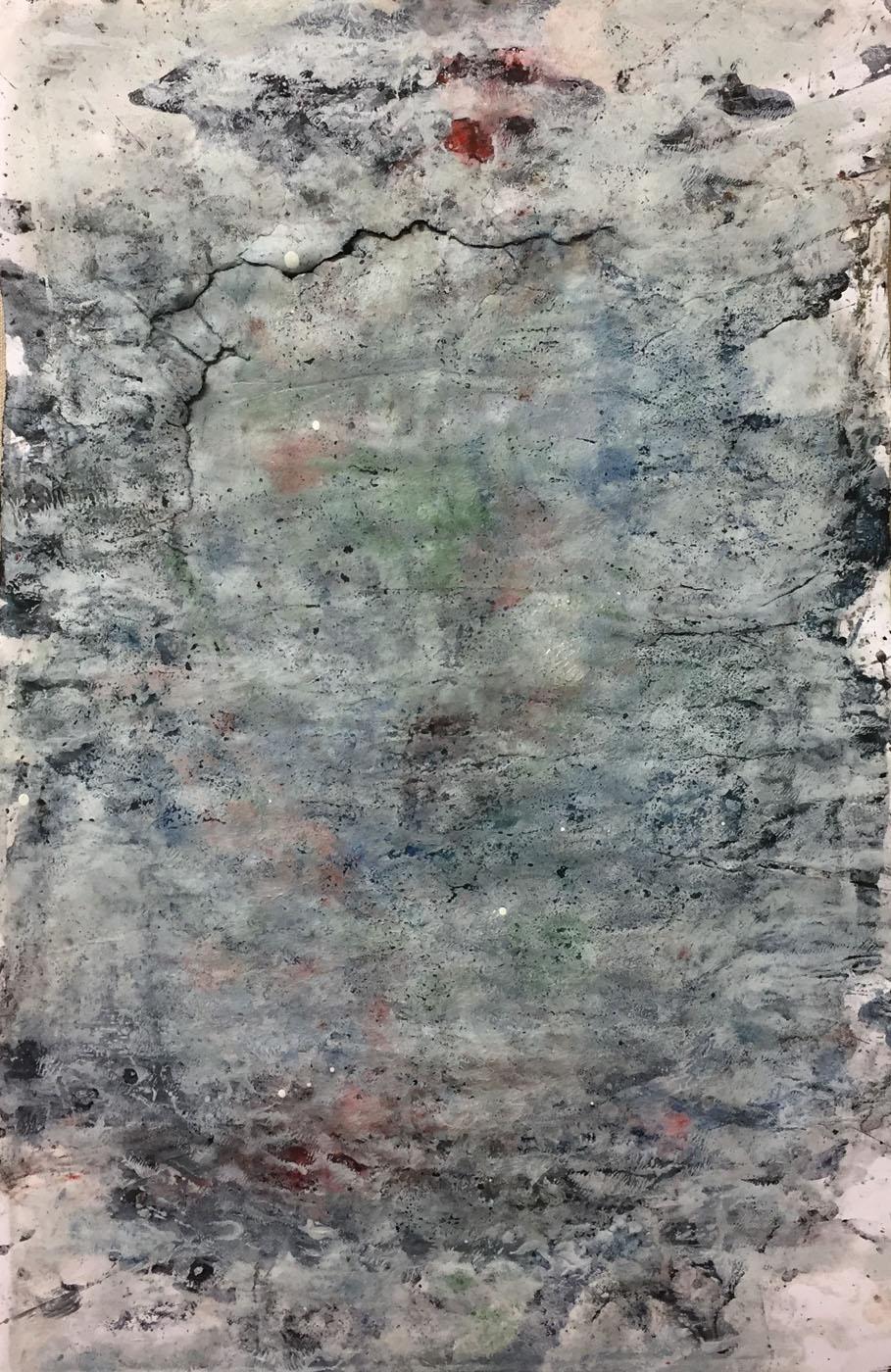 MARC FELD 2019 PARCHEMIN Gouache, acrylique et pigment sur papier 50 x 32 cm