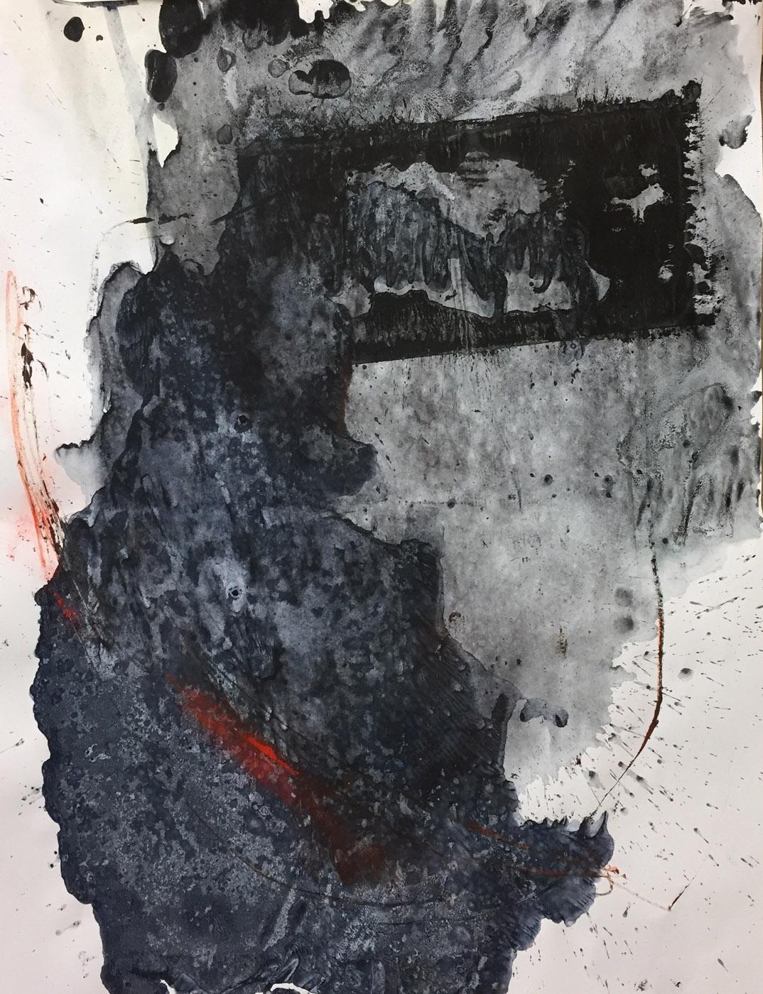 MARC FELD 2019 PIERRE SANS CHAGRIN 2 Acrylique, gouache et pigments sur papier 50 x 65 cm