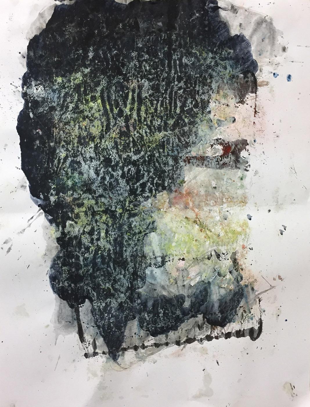 MARC FELD 2019 PIERRE SANS CHAGRIN Acrylique, gouache et pigments sur papier 50 x 65 cm