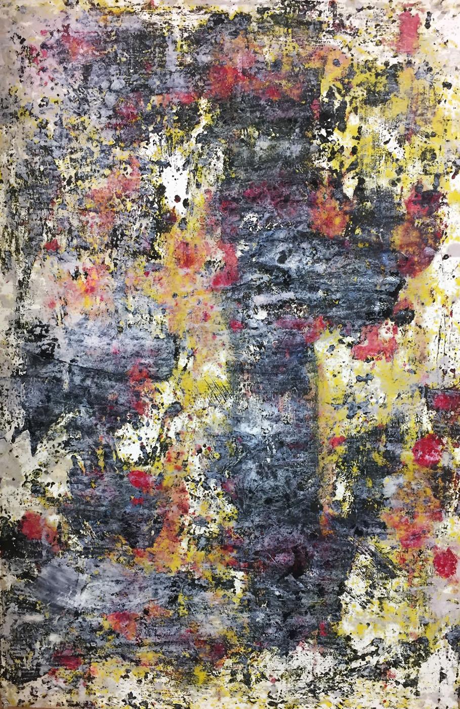 MARC FELD 2019 DÉFLAGRATION DES SOURCES 1 Huile, pigment et gouache sur papier 89 X 130 cm