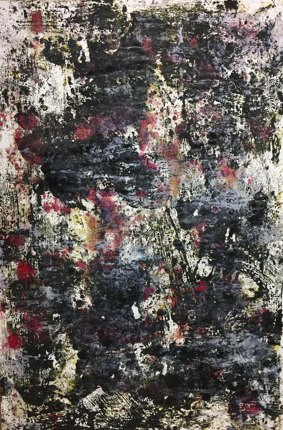 MARC FELD 2019 DÉFLAGRATION DES SOURCES 2 Huile, pigment et gouache sur papier 89 X 130 cm